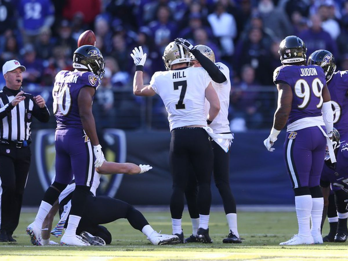 Ravens lead Saints in low scoring first half
