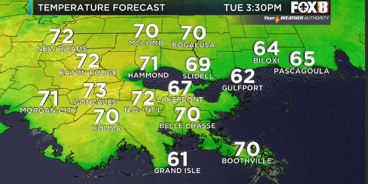 Bruce: Most area in the 70s today as warming trend underway