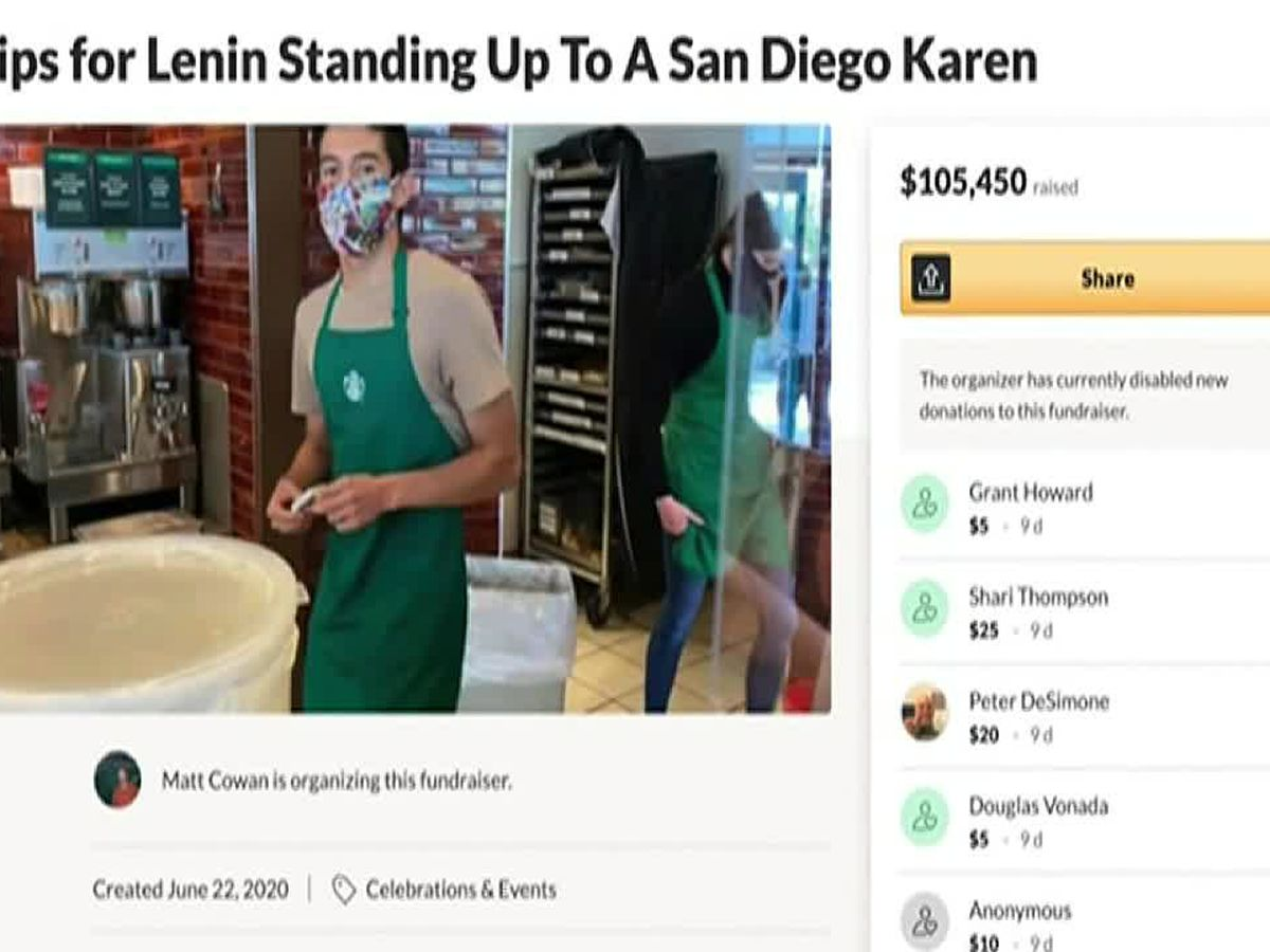 Woman sues over GoFundMe for Starbucks barista she targeted in a Facebook post after he asked her to wear a mask