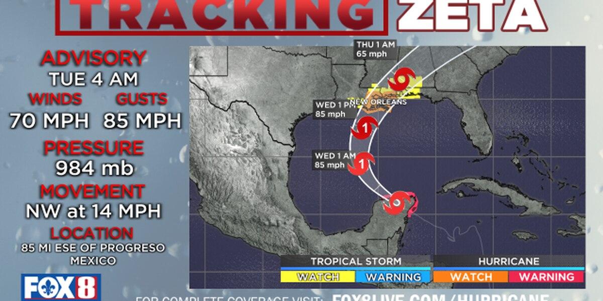 Zeta has sights set on SE LA; landfall expected Wednesday night