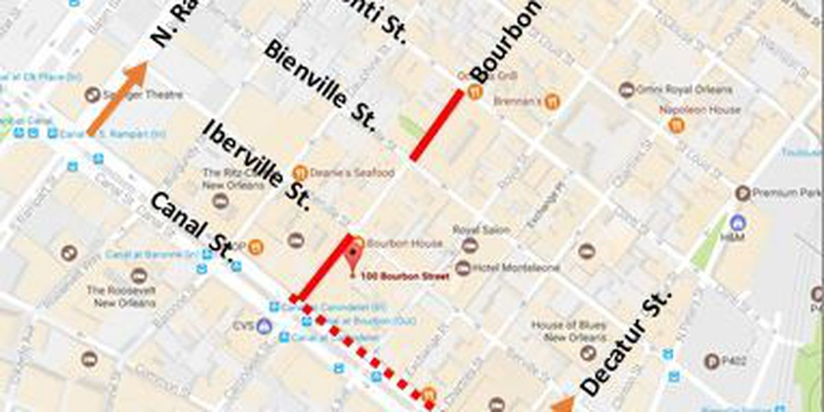 Construction work impacts another block of Bourbon Street