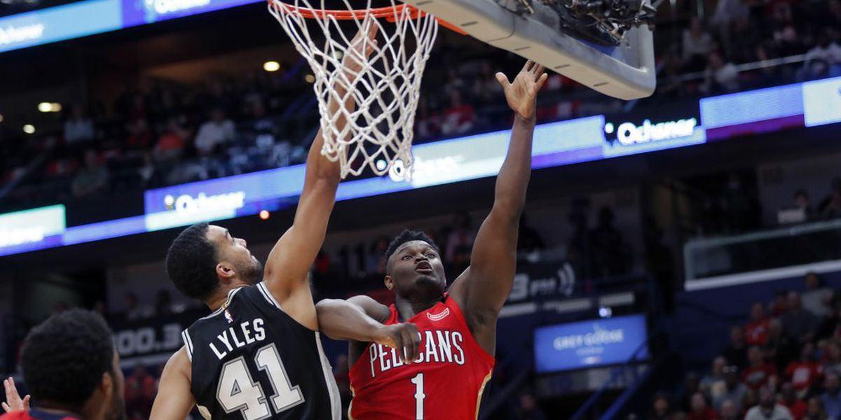Zion scores 22 in NBA debut; Spurs beat Pelicans 121-117