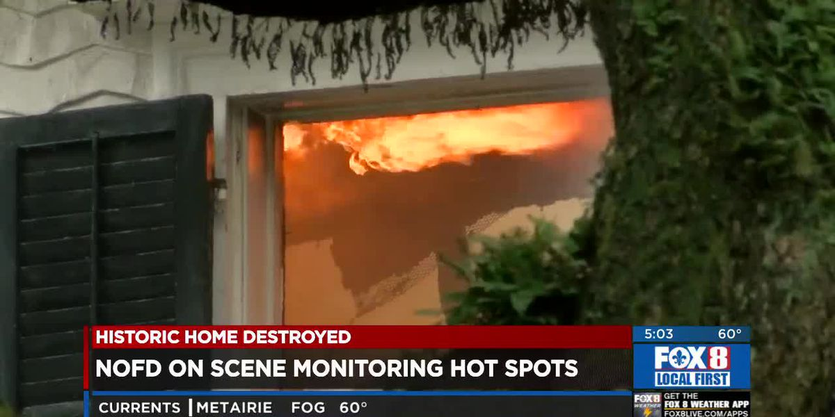 Nearly 24 hours later, NOFD still on scene where massive fire destroyed historic home