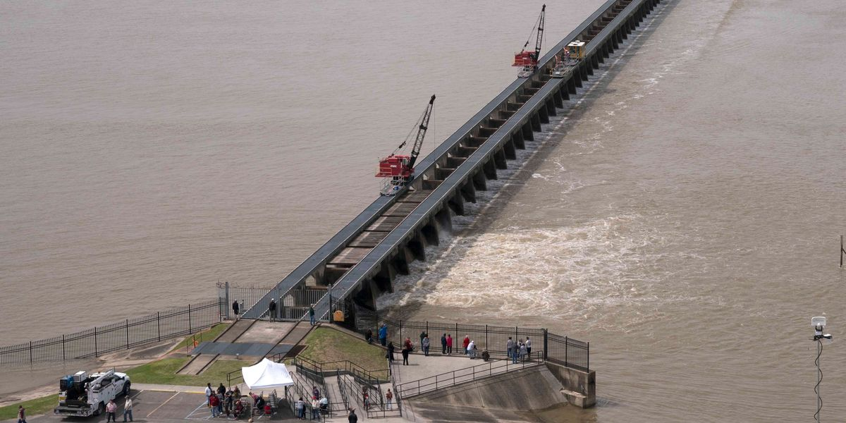 An aerial view of the Bonnet Carre Spillway