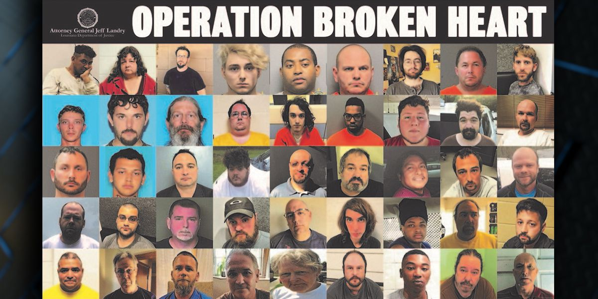 63 arrested across La. for child exploitation as part of Operation Broken Heart