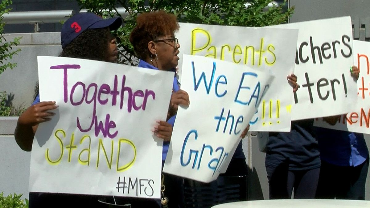 Staff, parents protest early childhood grant pulled from school following 'Cost of Choice' reports