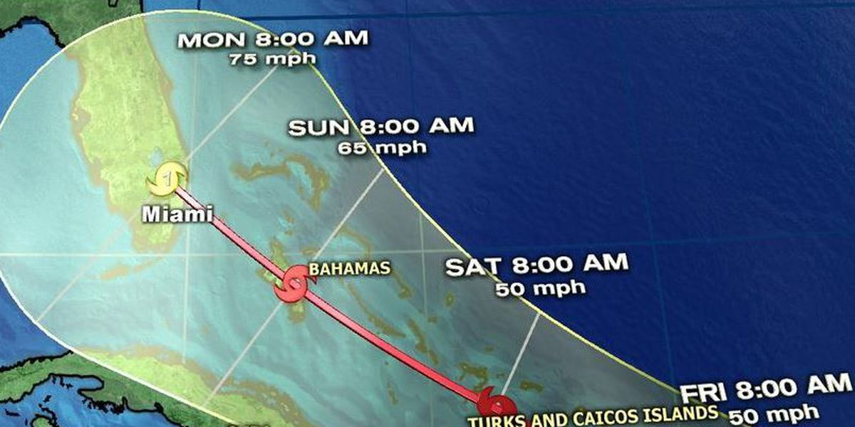 Erika expected to approach Florida by Sunday