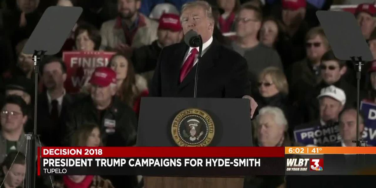 President Trump rallies support for Cindy Hyde-Smith ahead of U.S. Senate runoff