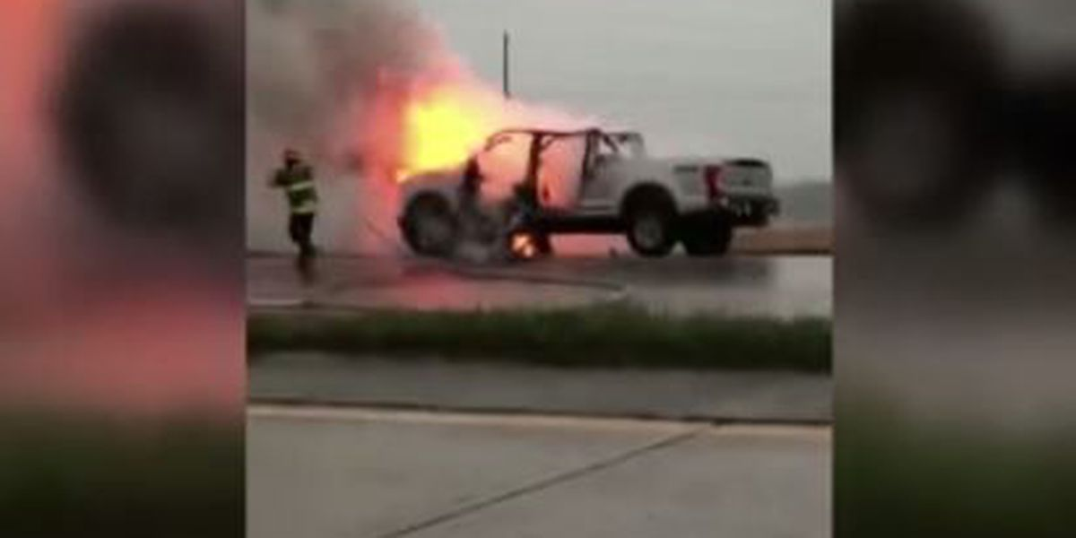 Louisiana man's truck struck by lightning while he was driving