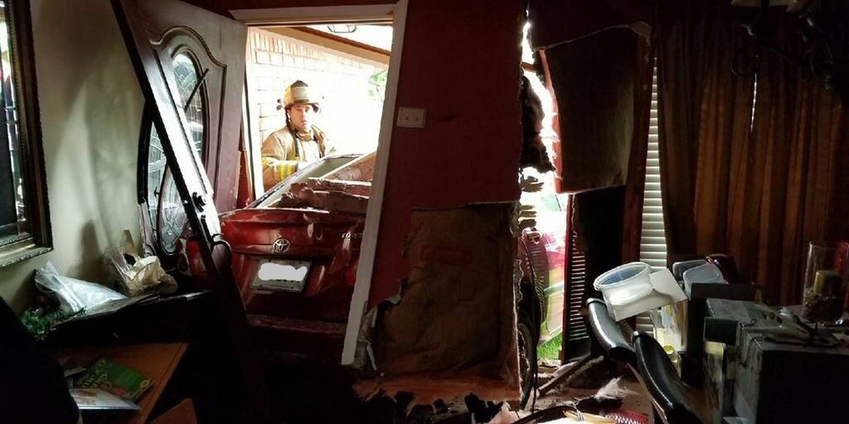 Elderly woman damaged her own home and crashed into neighbors home