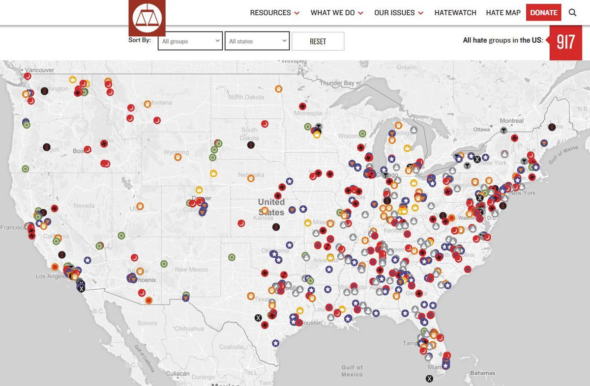 La On Us Map.Interactive Hate Map See The Organized Groups In La And United States