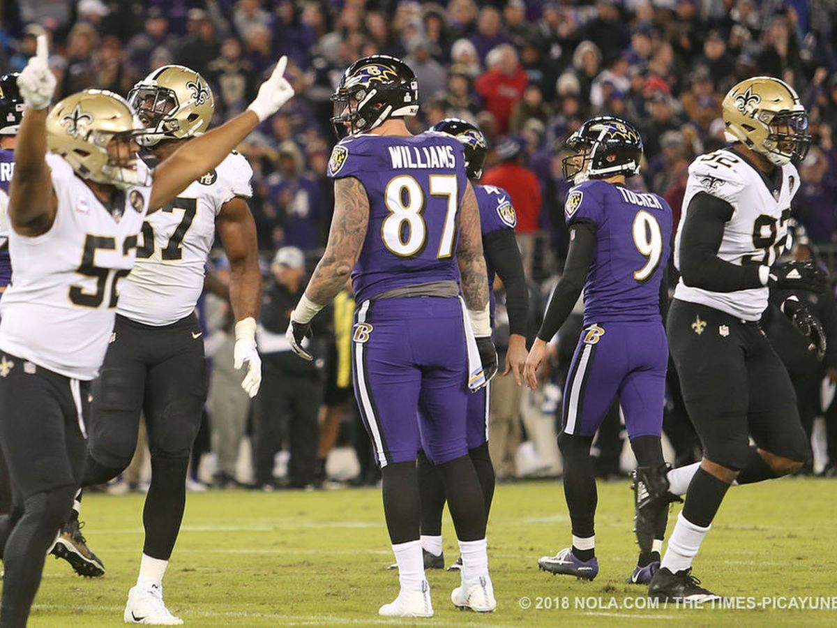 Justin Tucker misses extra point to tie game, Saints win 24-23