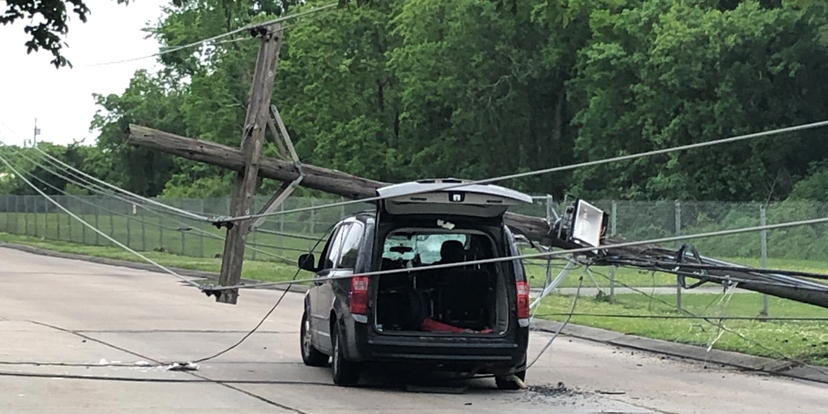 Mother and two children escape with minor injuries after power pole falls on her vehicle