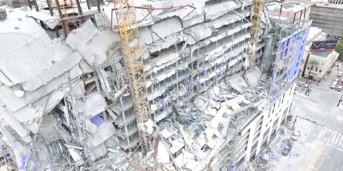 VIDEO: Drone captures aftermath of Hard Rock collapse in downtown New Orleans