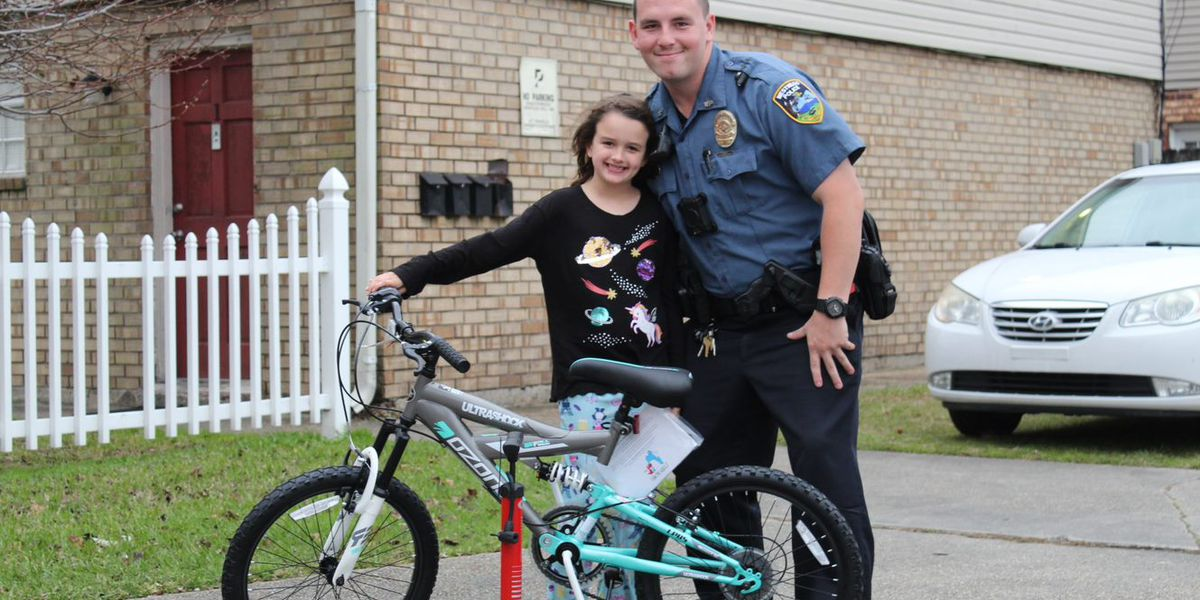 Westwego Police Department gifts little girl new bike after hers was stolen
