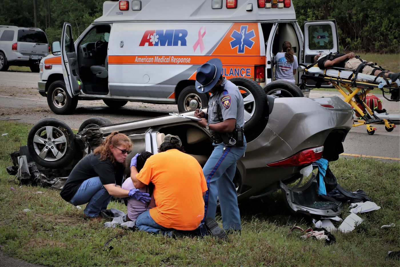 Infant flown to hospital, 3 adults injured after rollover wreck
