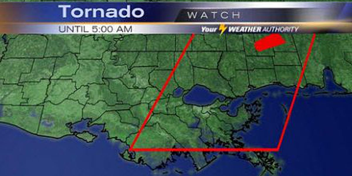 Tornado watch issued for several area parishes, southeastern Mississippi
