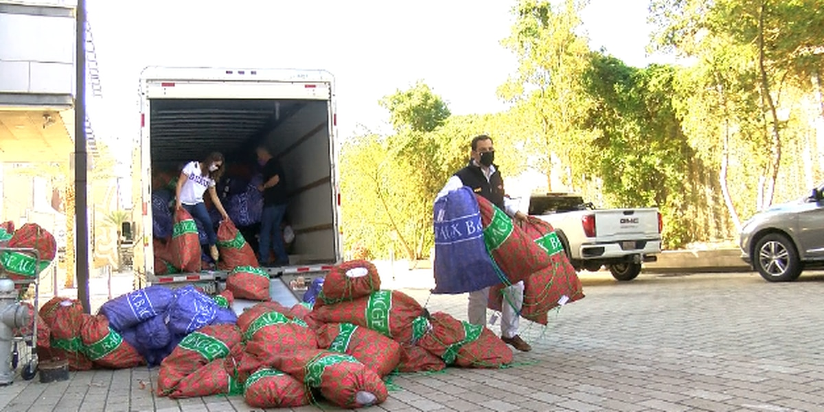 Nearly a thousand bags filled with essentials for abused or neglected kids delivered to New Orleans