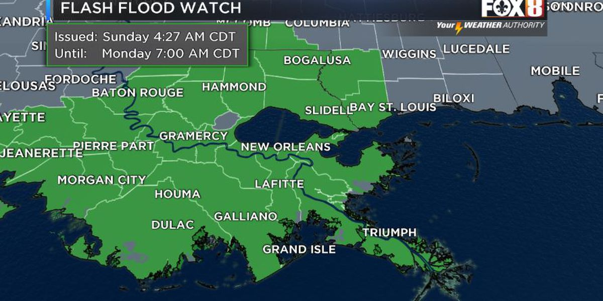 Flash flood watch in effect through Monday
