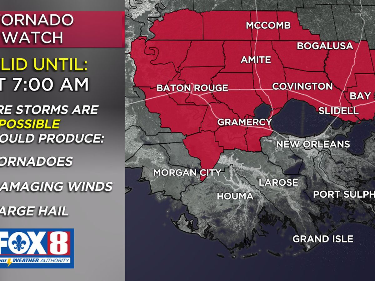 Tornado Watch in effect through the morning hours