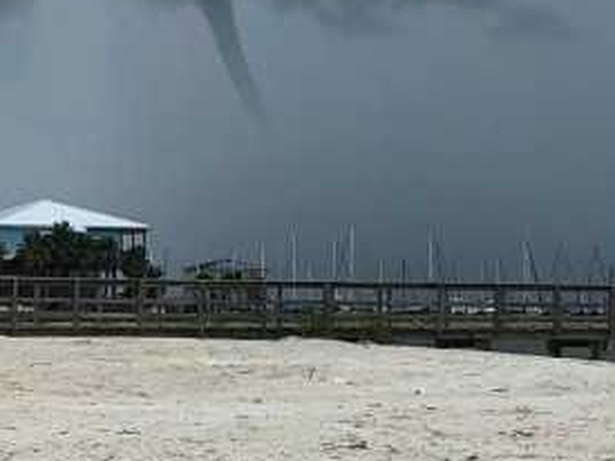 Waterspout develops near beach in Gulfport