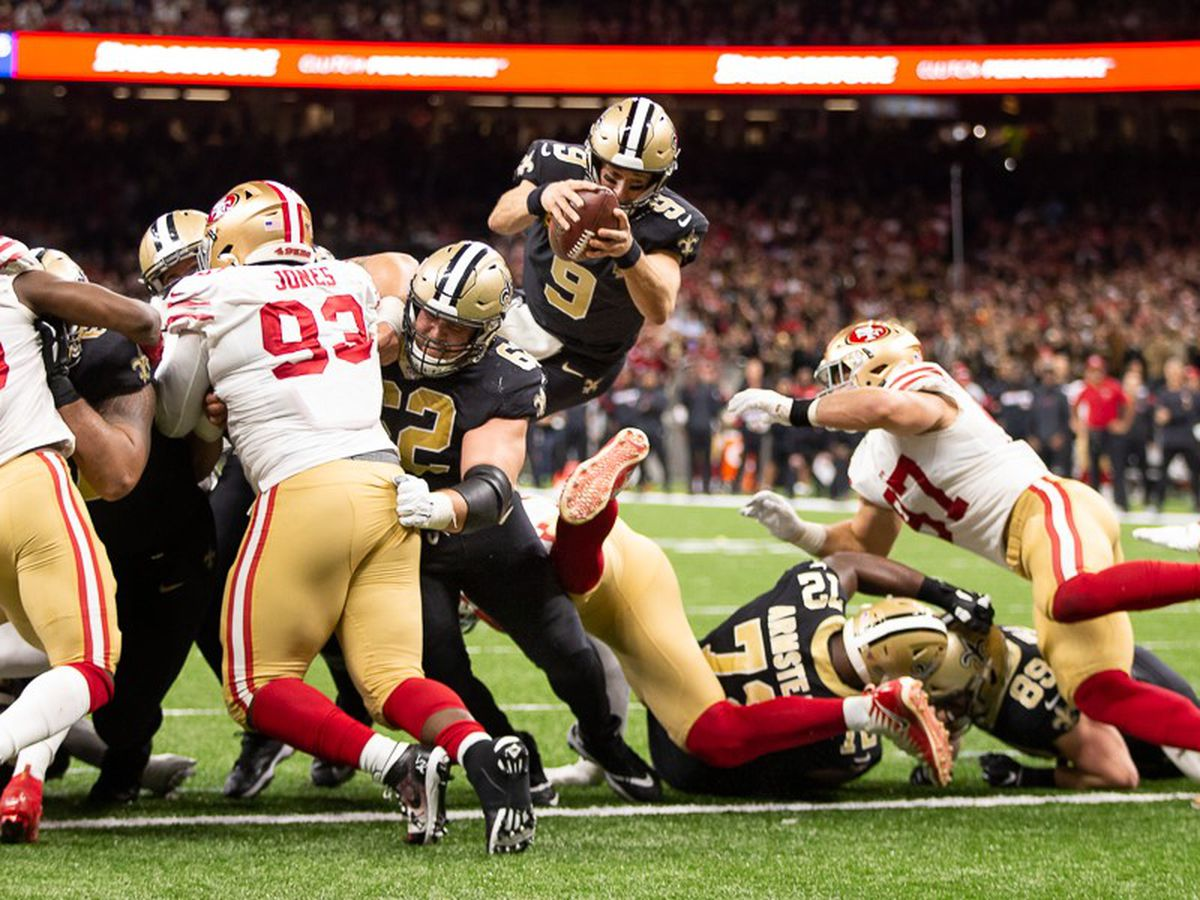 Niners lead Saints in high-scoring first half