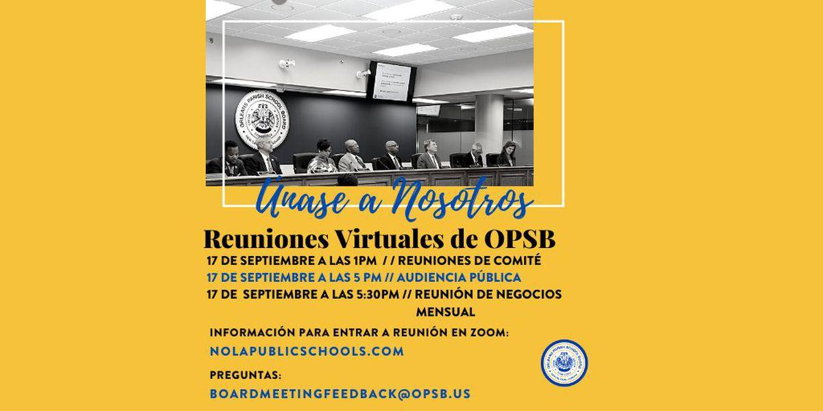 La Junta Escolar de la Parroquia de Orleans (OPSB) organizará reuniones públicas virtuales