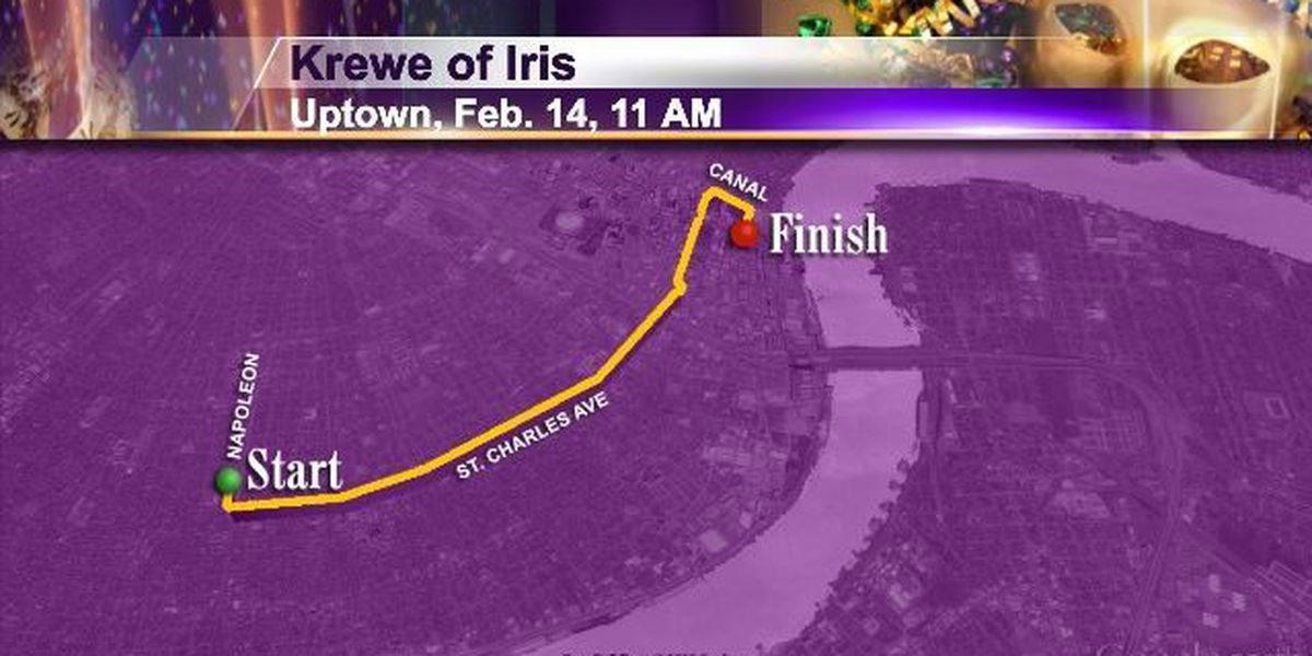 Sat 2/14 Uptown 11am Krewe of Iris