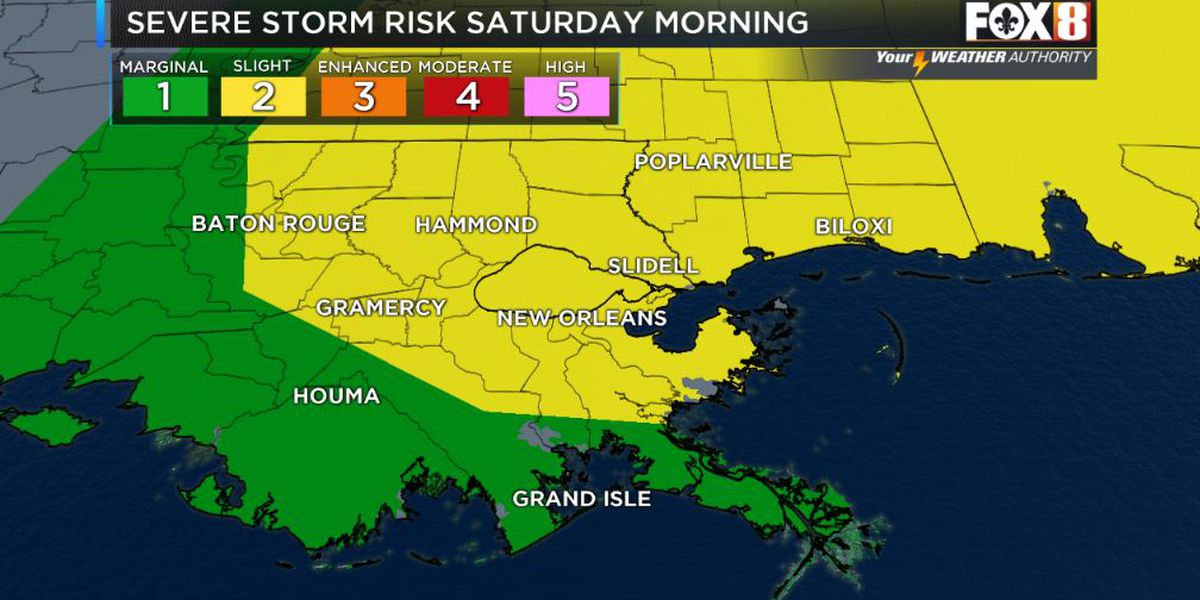 Severe storm risk Saturday morning