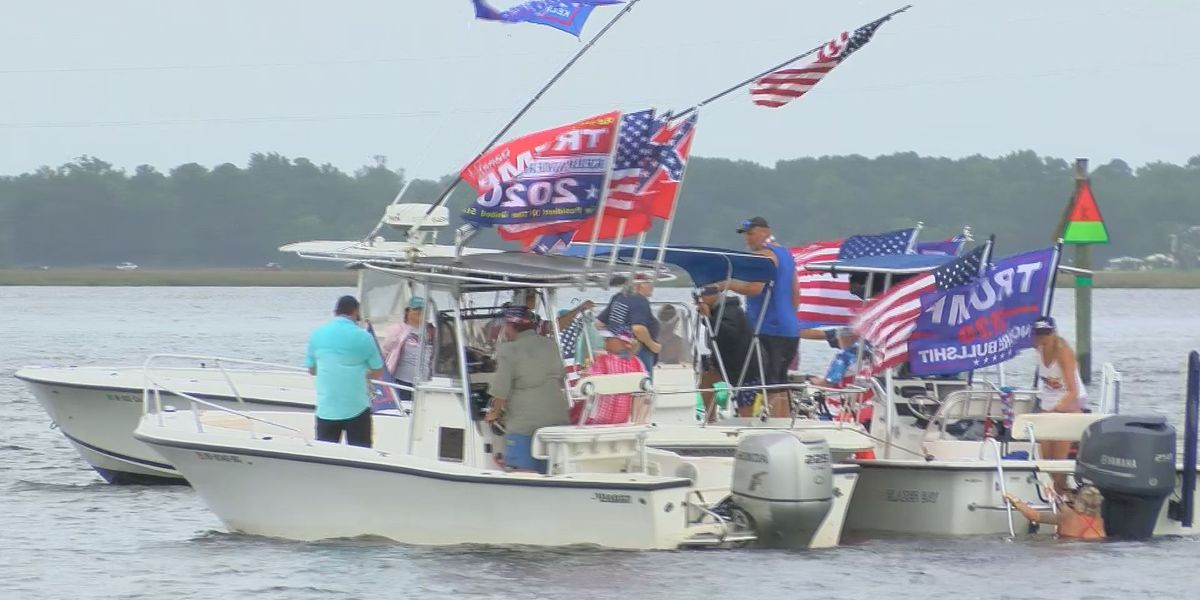 Hundreds of boats cruise the Pascagoula River in support of President Trump