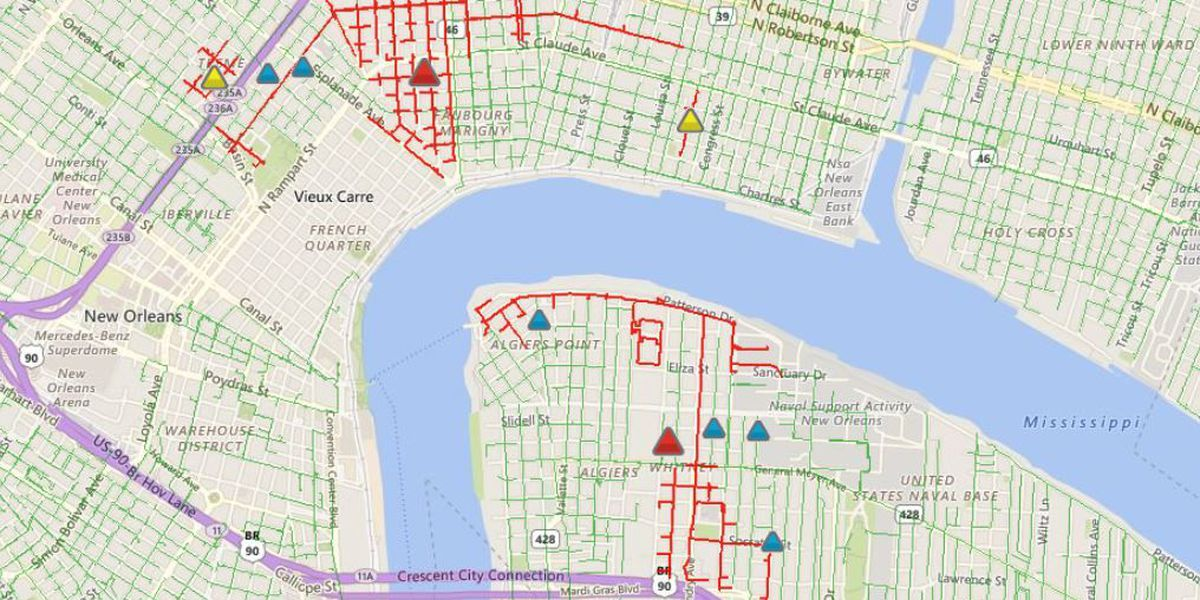 More than 6,500 Entergy without power in Orleans and Jefferson Parishes
