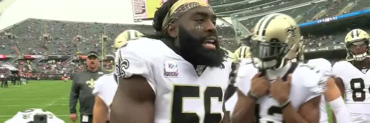 We prowl, we kill, we eat!!! Demarco Davis and Drew Brees tag team on pregame chant