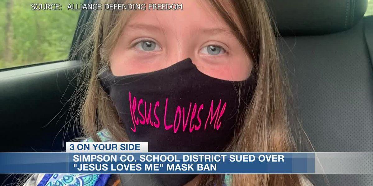 Parents sue Simpson Co. School District over ban of daughter's 'Jesus Loves Me' mask