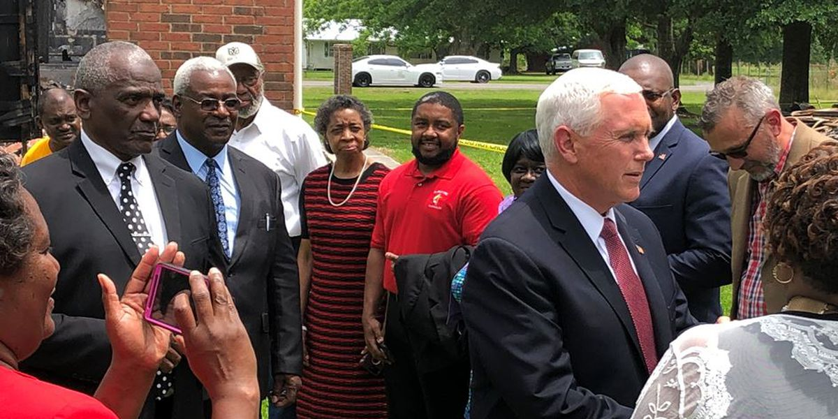 Vice President Pence visits burned churches in Louisiana