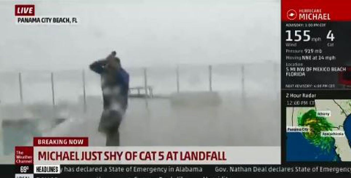 watch  jim cantore nearly impaled live on the weather channel