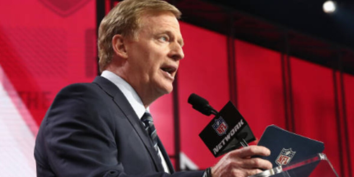 NFL Commissioner Roger Goodell holding Super Bowl press conference