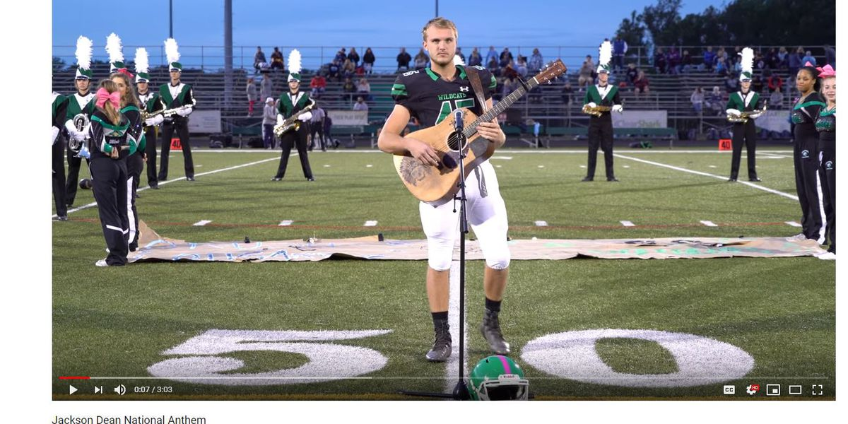 Teen wows MD football crowd with country version of national anthem