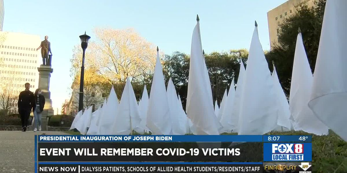 White flags honor the lives of nearly 700 New Orleans residents lost due to COVID