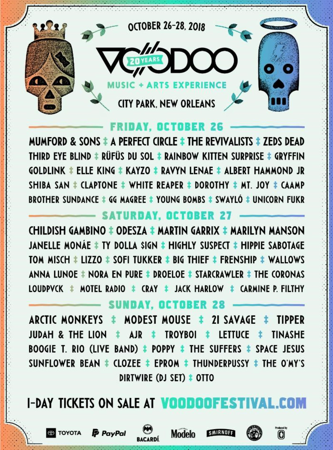 VooDoo Fest announced the Day-By-Day lineup.