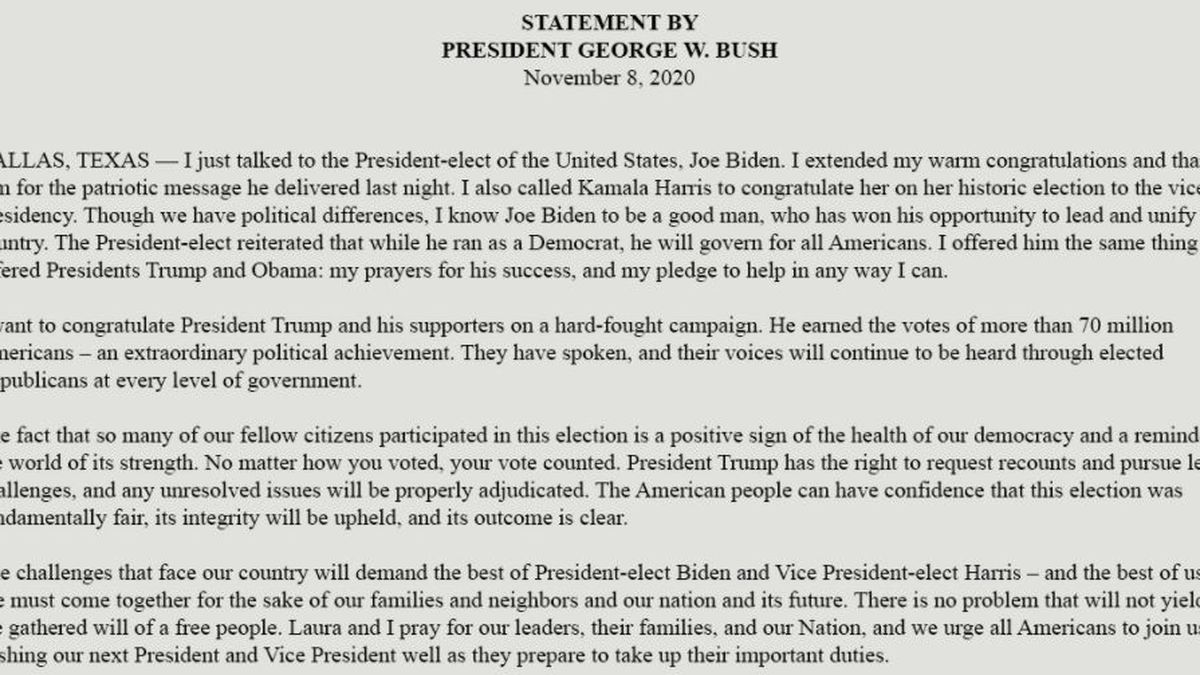 Former U.S. President George W. Bush congratulates Biden and Harris