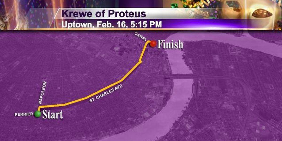 Mon 2/16 Uptown 4 pm Krewe of Proteus