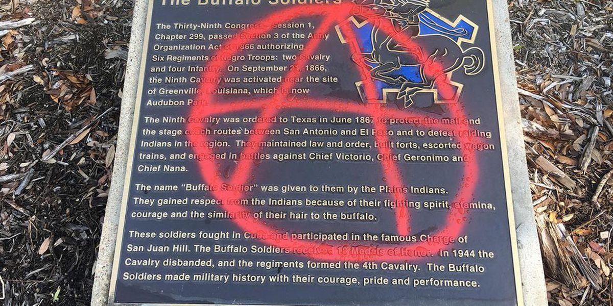 Vandals strike Buffalo Soldier plaque in Audubon Park