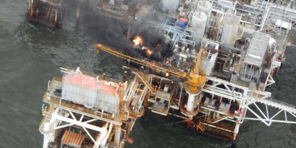 Oil platform fire extinguished off La. coast, clean up underway
