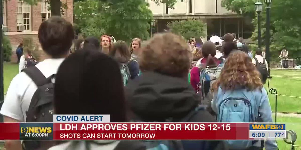 Kids 12-15 should be able to get Pfizer shot starting May 13, LDH says