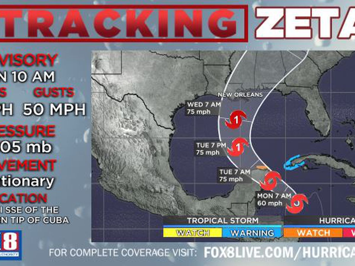 Tropical Storm Zeta forecast to be Category 1 hurricane at landfall; SE LA remains in the cone