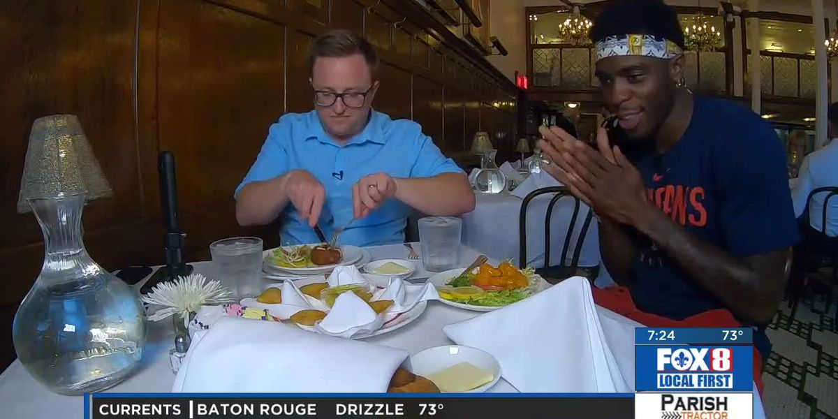 Rob Krieger dines at Arnaud's with Pelicans rookie Zylan Cheatham