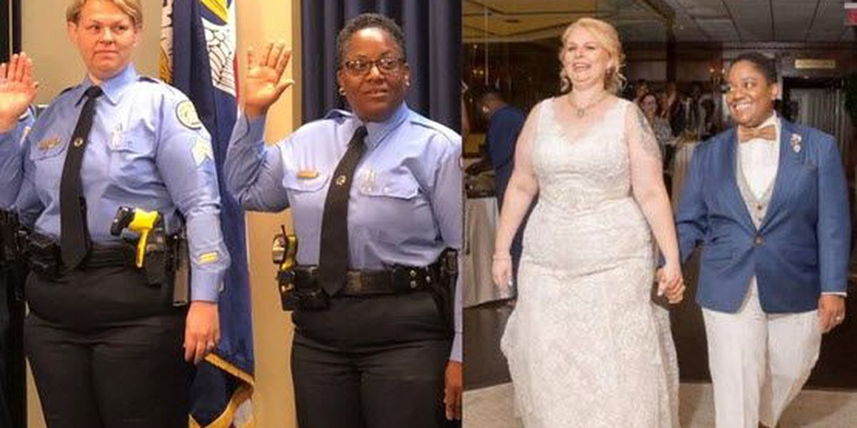 NOPD officers become first same-sex married couple promoted together