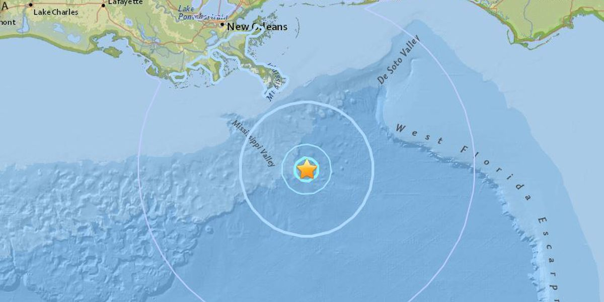 4.6 magnitude earthquake reported in Gulf of Mexico