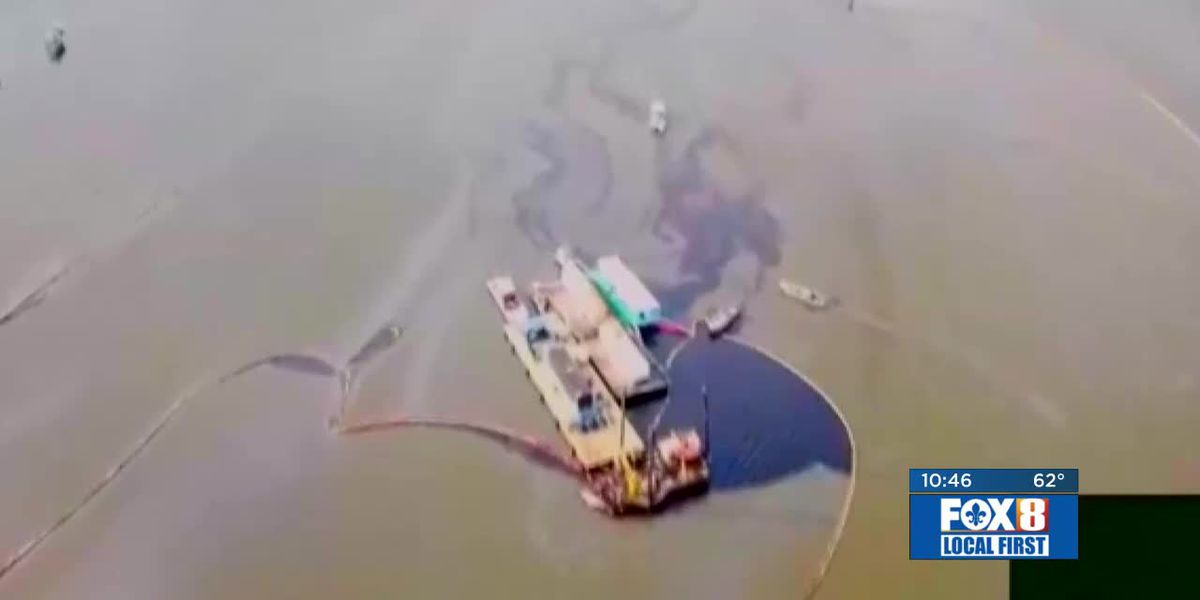 Containment, clean-up continues in Port Sulphur oil spill