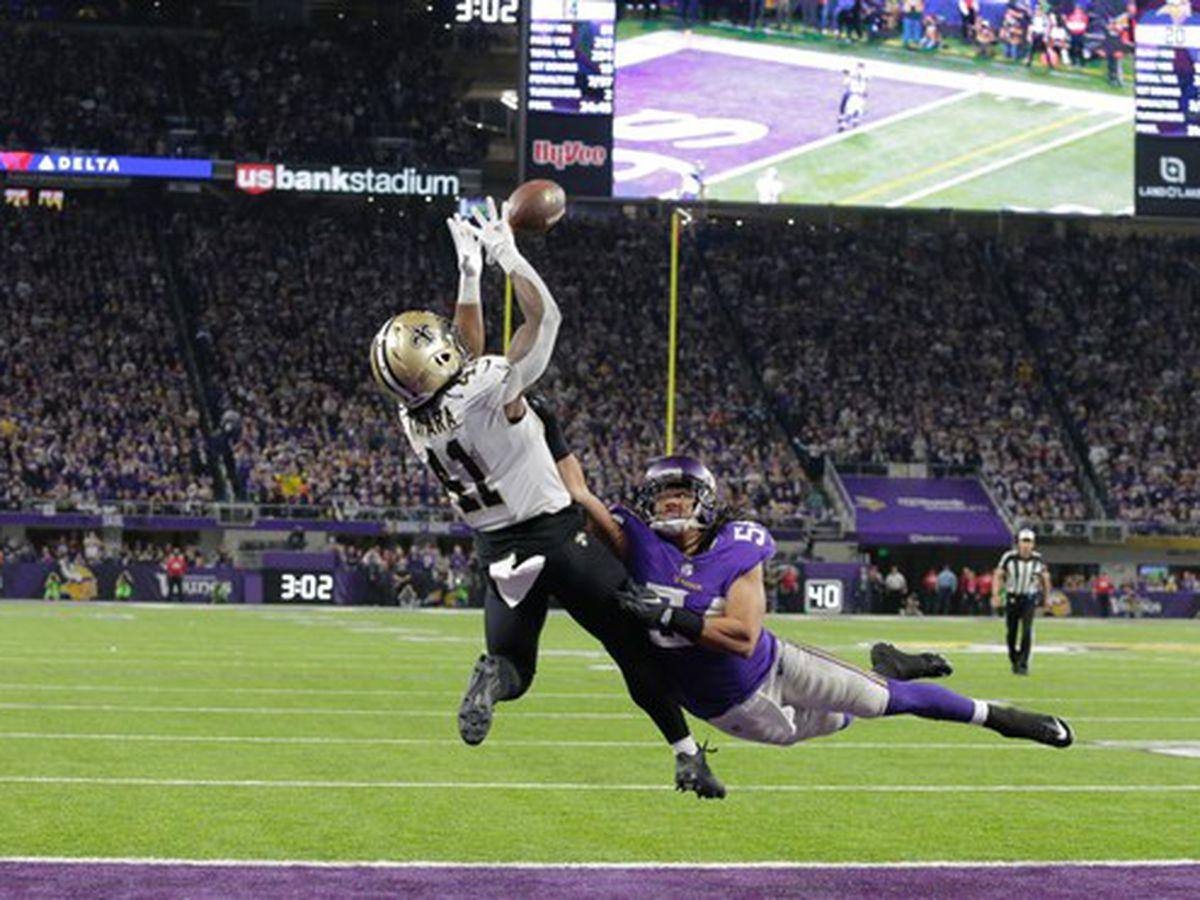 Vikings favored by a point over Saints on Sunday night football